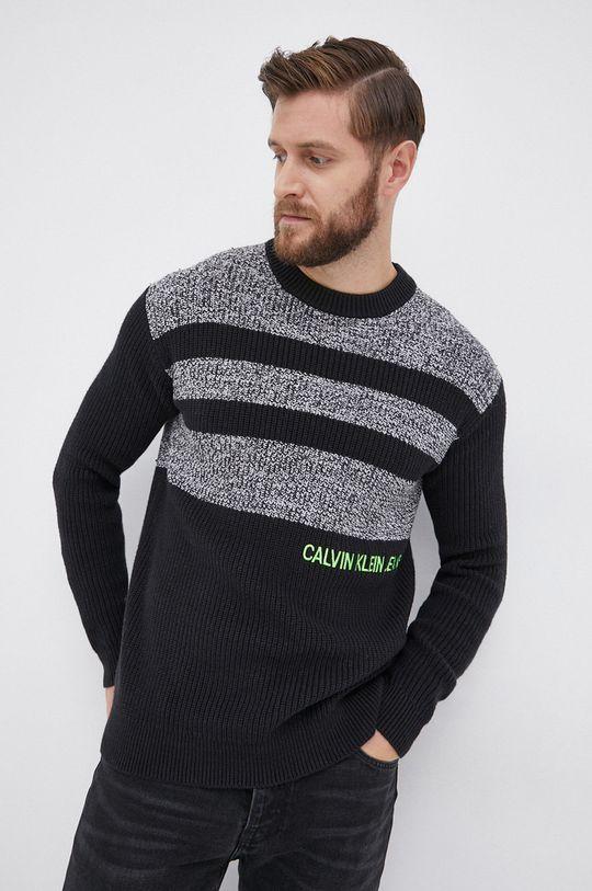 czarny Calvin Klein Jeans - Sweter z domieszką wełny Męski