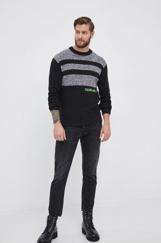 Calvin Klein Jeans - Sweter z domieszką wełny czarny