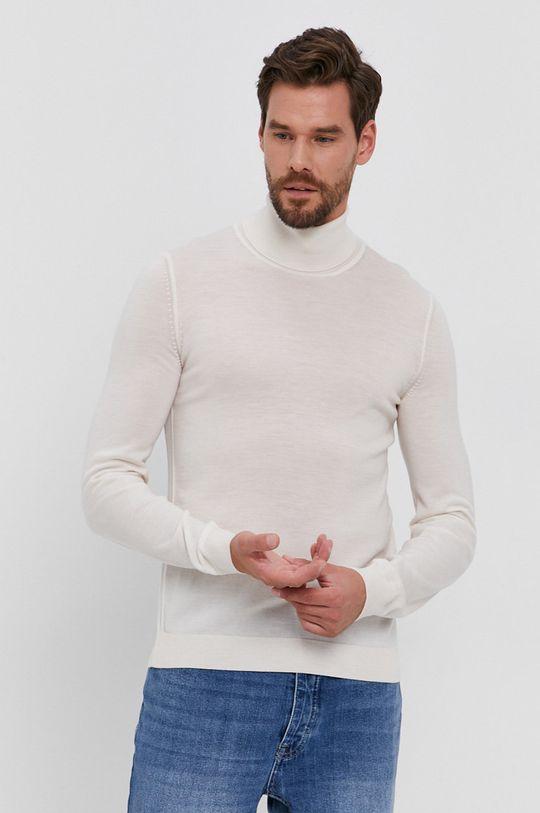 kremowy Boss - Sweter wełniany Męski