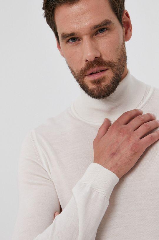 kremowy Boss - Sweter wełniany