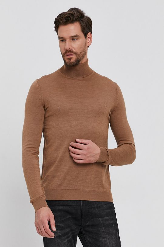 beżowy Boss - Sweter wełniany Męski