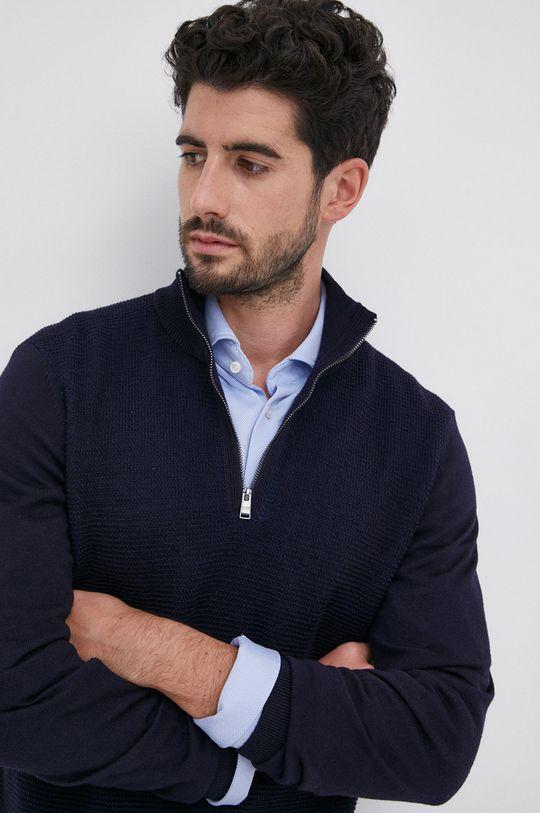granatowy Boss - Sweter wełniany