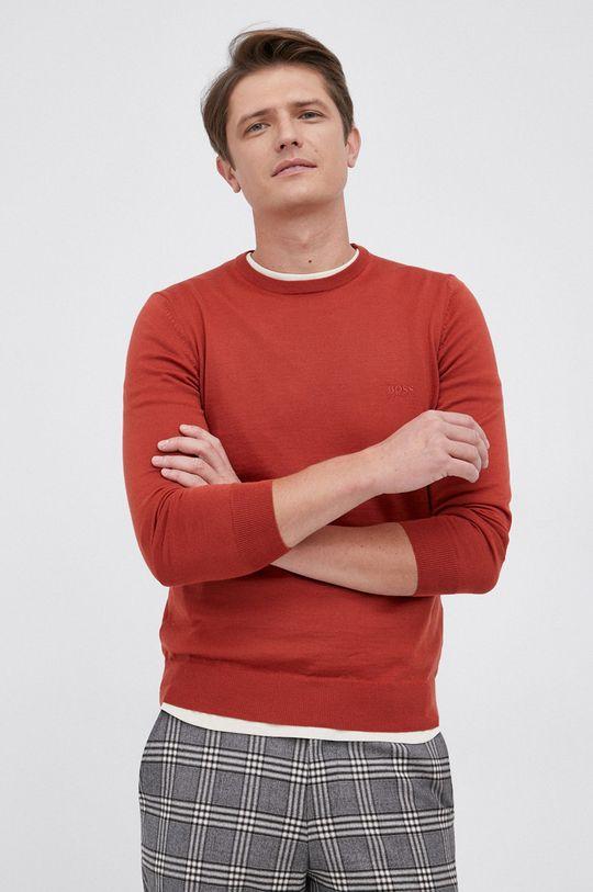 czerwony Boss - Sweter wełniany Męski