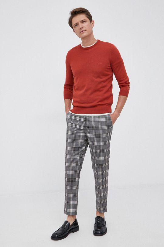 Boss - Sweter wełniany czerwony