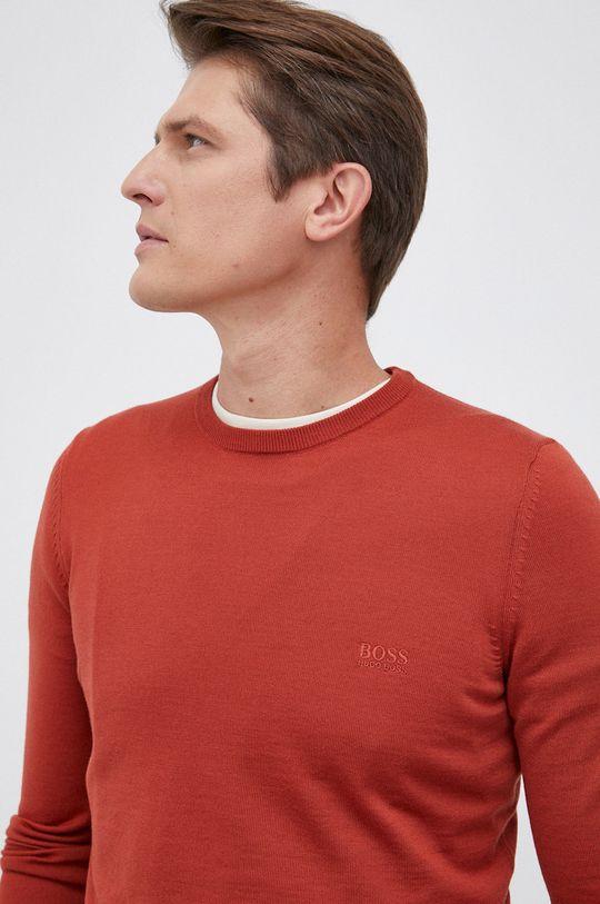 czerwony Boss - Sweter wełniany