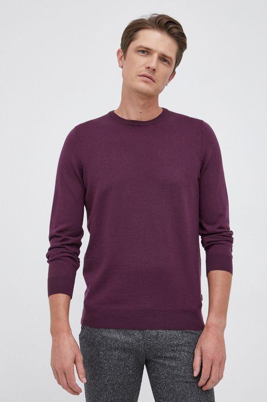purpurowy Boss - Sweter wełniany Męski