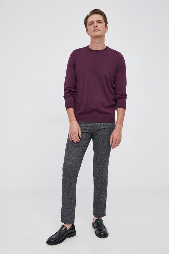 Boss - Sweter wełniany purpurowy
