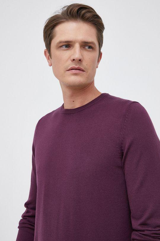 purpurowy Boss - Sweter wełniany