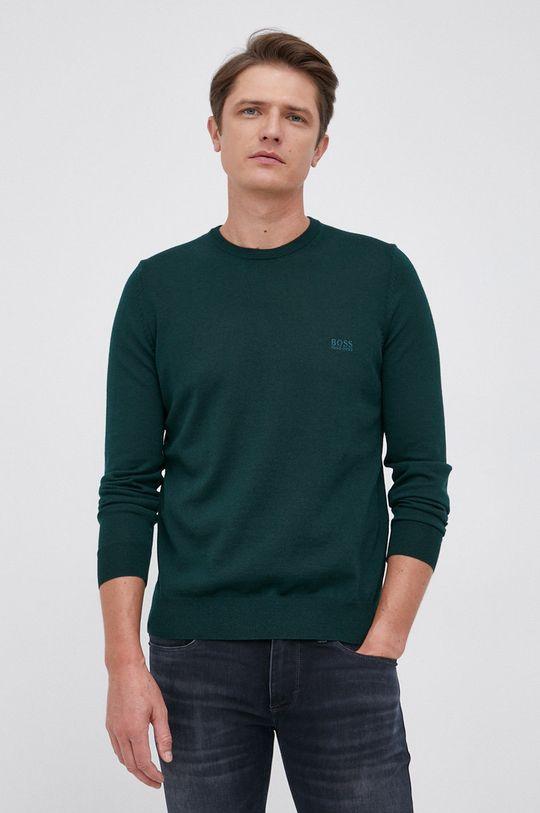 ciemny zielony Boss - Sweter wełniany Męski