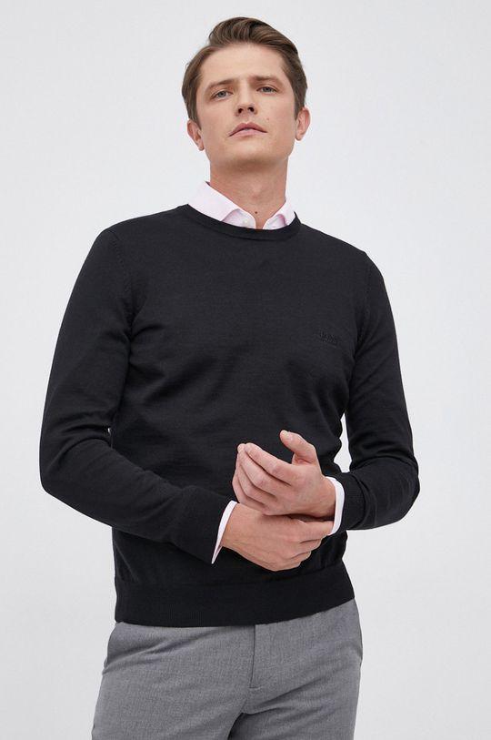 czarny Boss - Sweter wełniany Męski