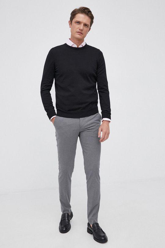 Boss - Sweter wełniany czarny