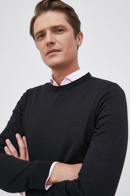 czarny Boss - Sweter wełniany