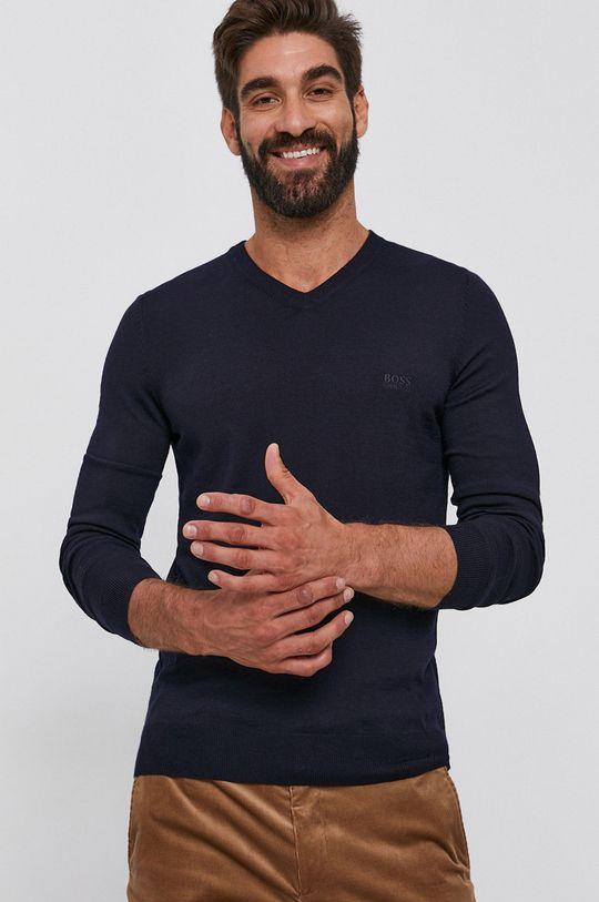 tmavomodrá Boss - Vlnený sveter Pánsky