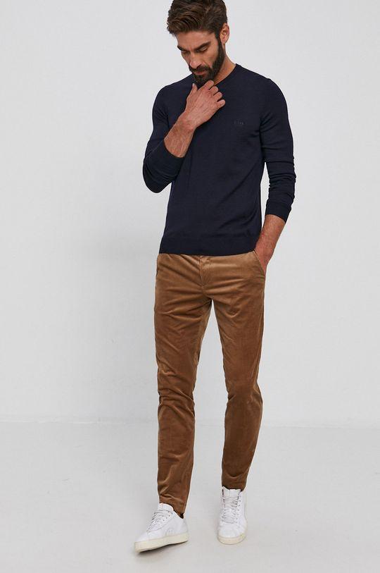 Boss - Vlnený sveter tmavomodrá
