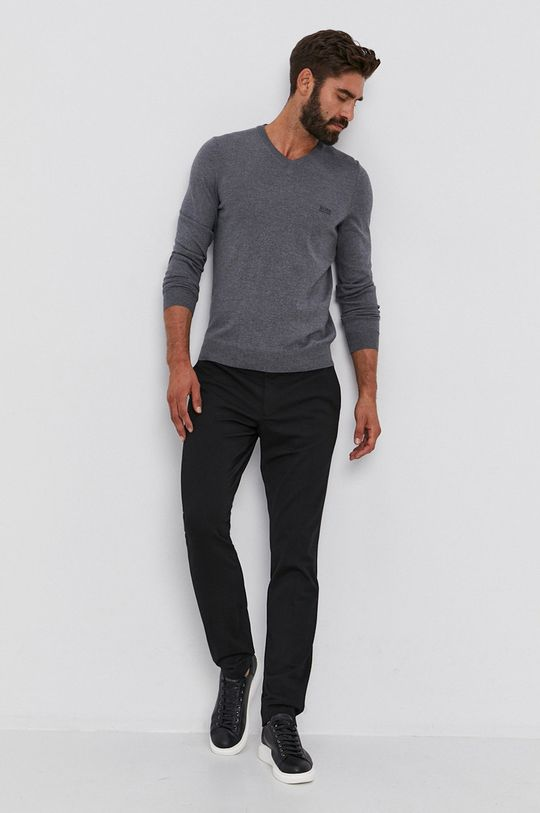 Boss - Sweter wełniany szary