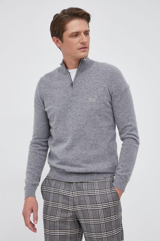 szary Boss - Sweter wełniany Męski