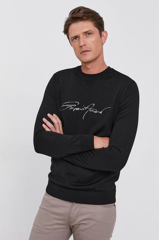 czarny Emporio Armani - Sweter wełniany Męski