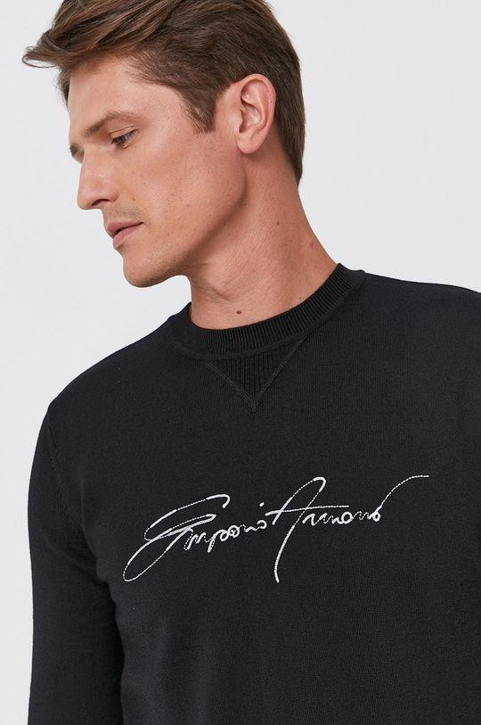 czarny Emporio Armani - Sweter wełniany