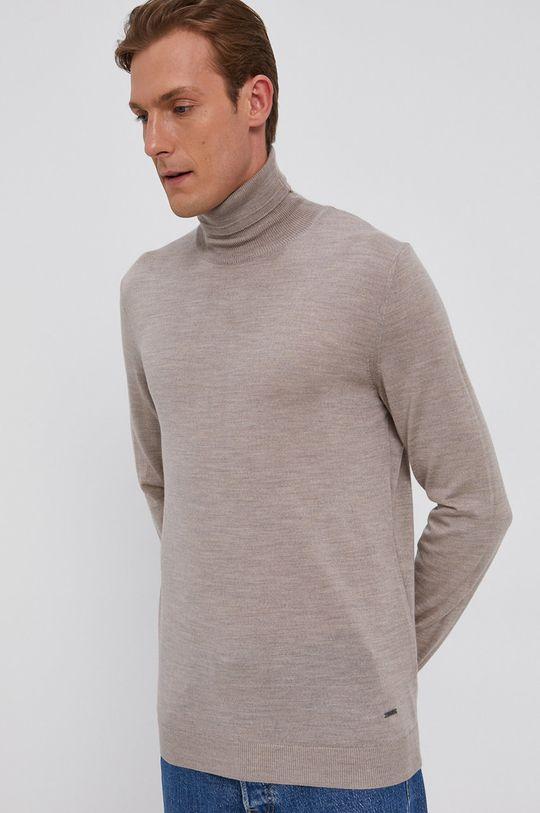 piaskowy Joop! - Sweter wełniany Męski
