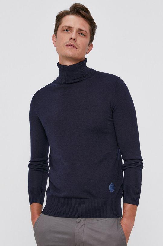 granatowy Trussardi - Sweter wełniany Męski
