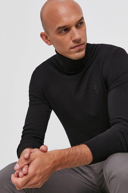 czarny Trussardi - Sweter Męski