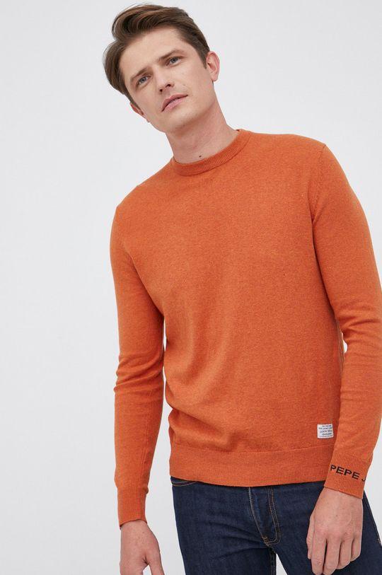 pomarańczowy Pepe Jeans - Sweter z domieszką wełny Andre Męski