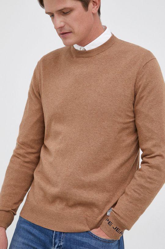 piaskowy Pepe Jeans - Sweter z domieszką wełny Andre Męski