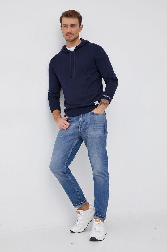 Pepe Jeans - Svetr se směsí kašmíru Gaston námořnická modř