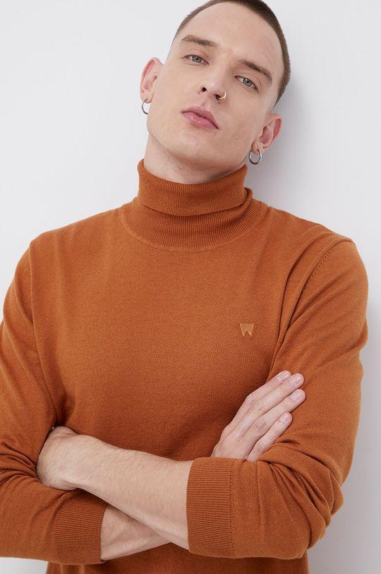 brązowy Wrangler - Sweter z domieszką wełny Męski