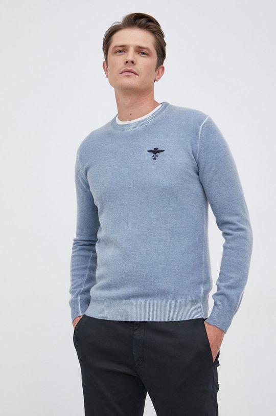 jasny niebieski Aeronautica Militare - Sweter wełniany Męski
