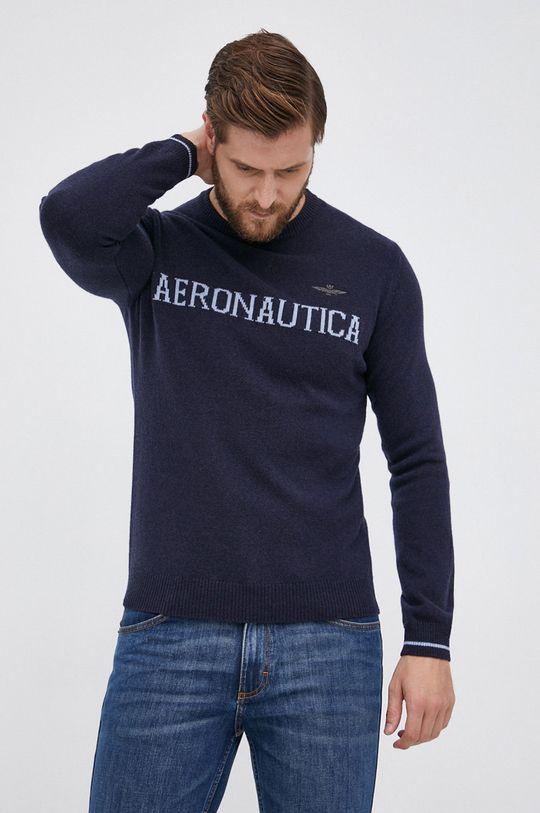 granatowy Aeronautica Militare - Sweter wełniany Męski