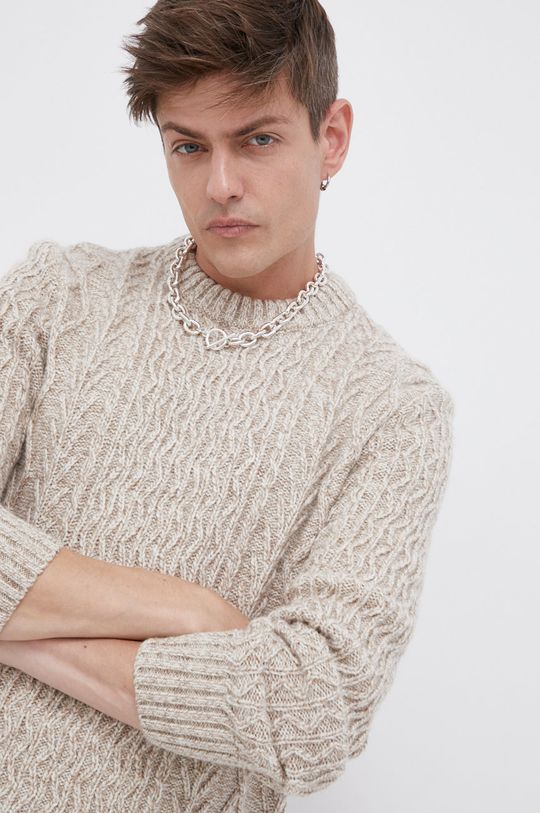 kremowy Superdry - Sweter z domieszką wełny Męski