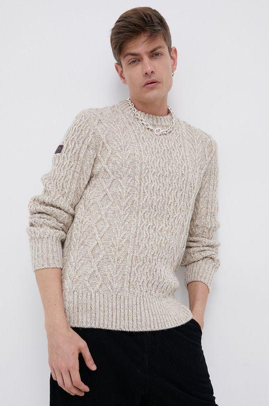 kremowy Superdry - Sweter z domieszką wełny