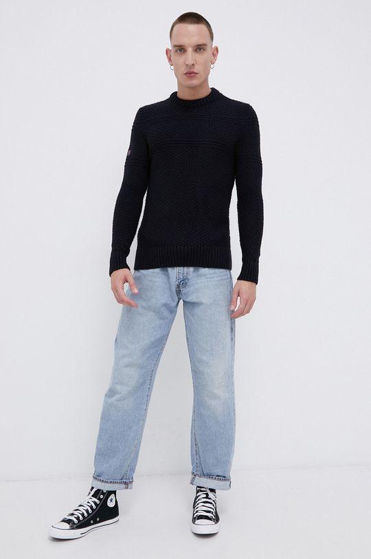 Superdry - Sweter z domieszką wełny granatowy