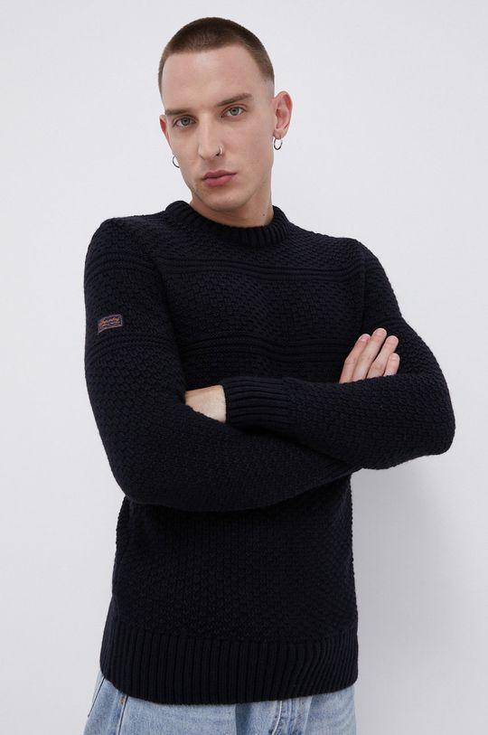 granatowy Superdry - Sweter z domieszką wełny