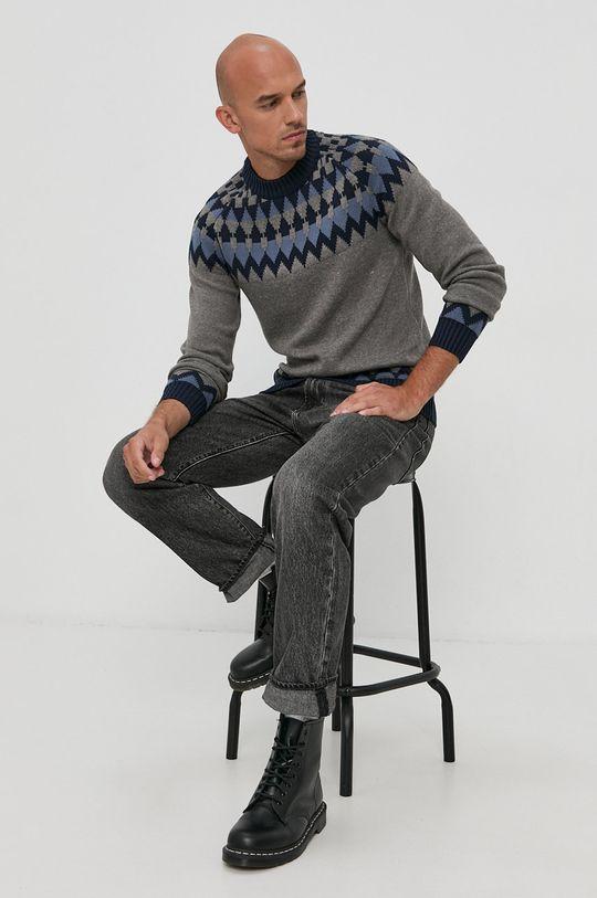 szary Solid - Sweter Męski