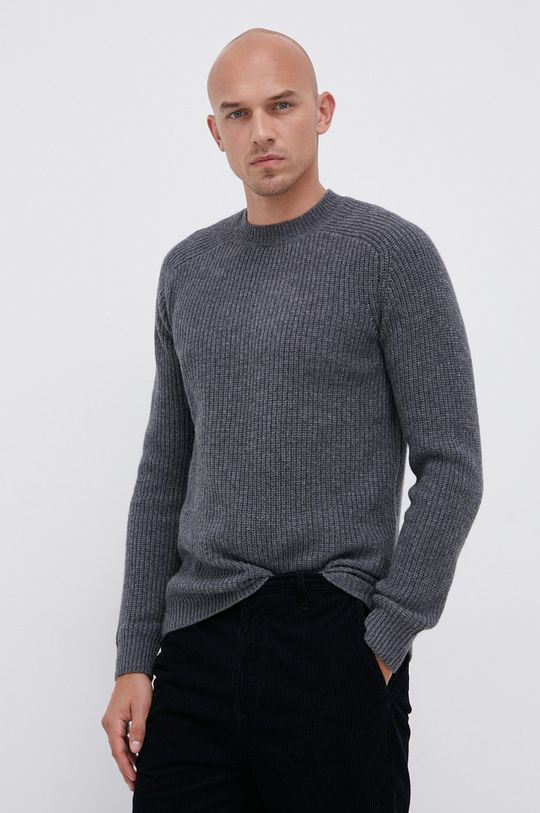šedá !SOLID - Vlněný svetr Pánský