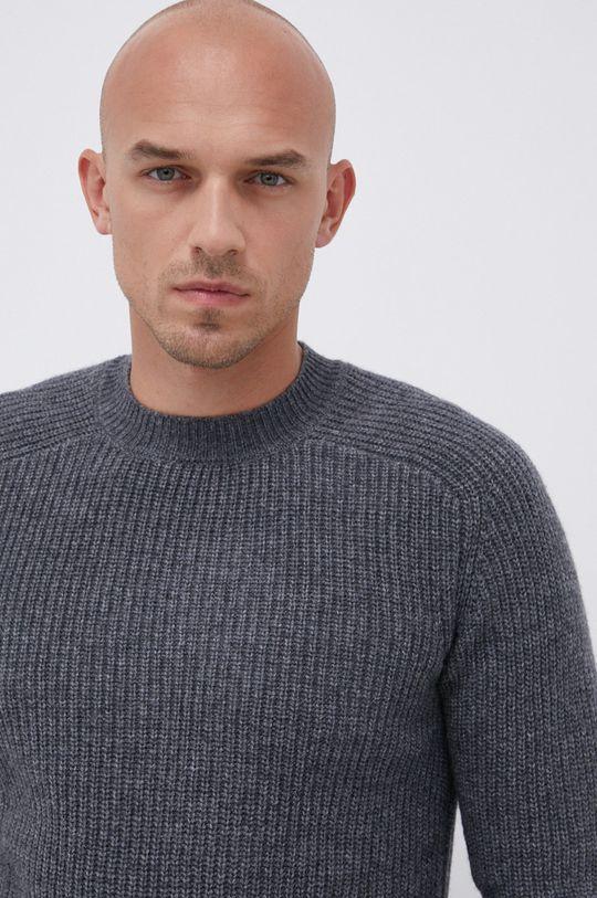šedá !SOLID - Vlněný svetr