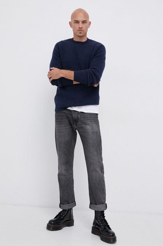 !SOLID - Vlněný svetr námořnická modř