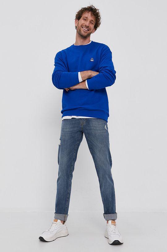 United Colors of Benetton - Hanorac de bumbac albastru
