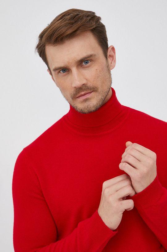 červená United Colors of Benetton - Vlněný svetr Pánský