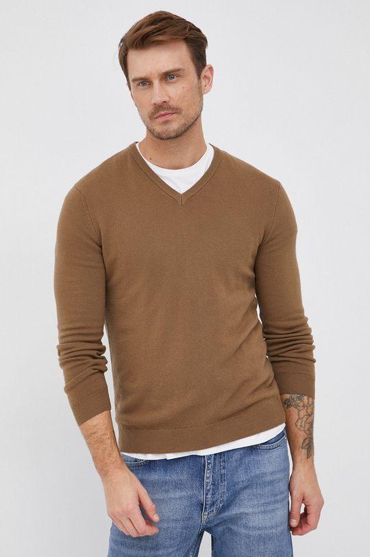 hnědá United Colors of Benetton - Vlněný svetr
