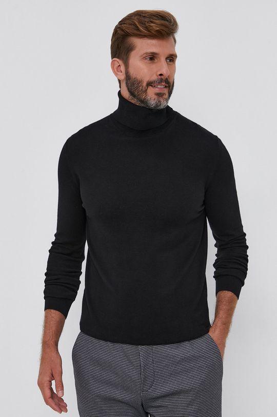 czarny Sisley - Sweter Męski