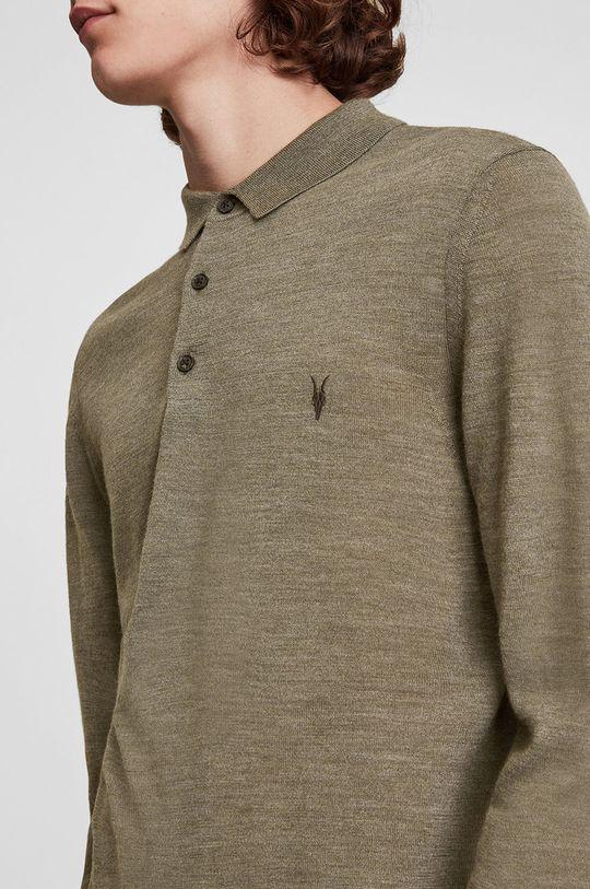 AllSaints - Sweter wełniany jasny oliwkowy