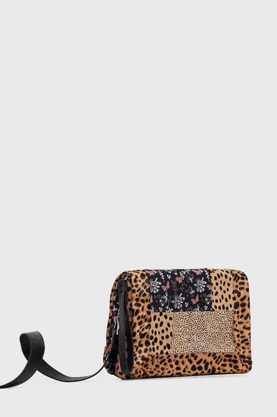 Desigual - Kožená kabelka hnedá