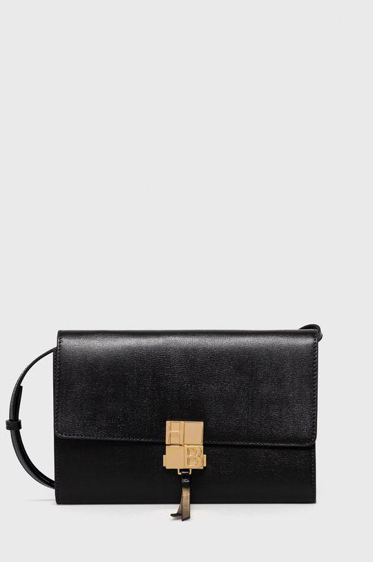 čierna Boss - Kožená kabelka Dámsky