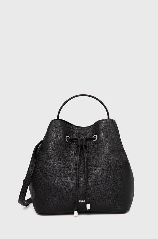 čierna Hugo - Kožená kabelka Dámsky