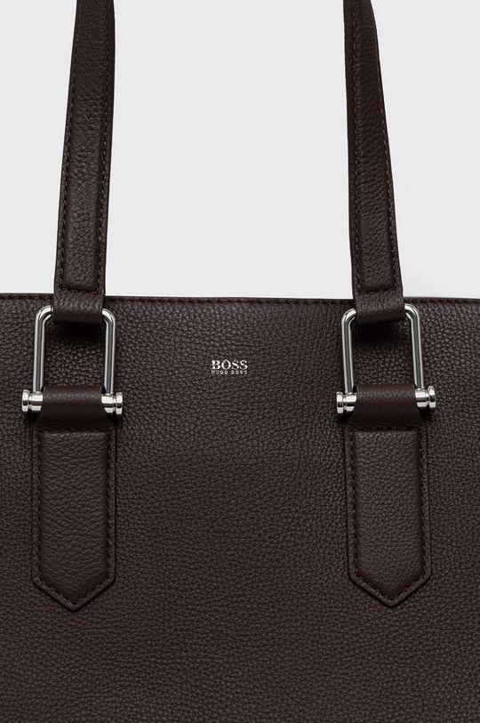 Boss - Kožená kabelka tmavohnedá