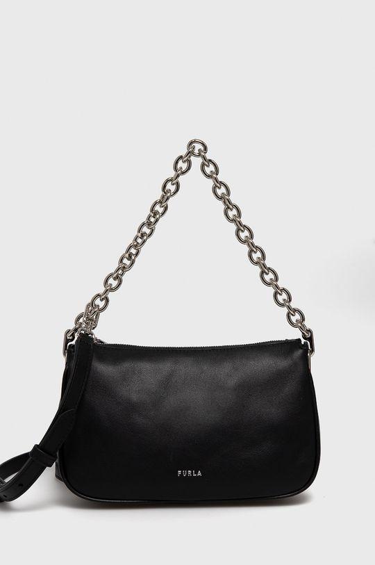 čierna Furla - Kožená kabelka Moon Dámsky