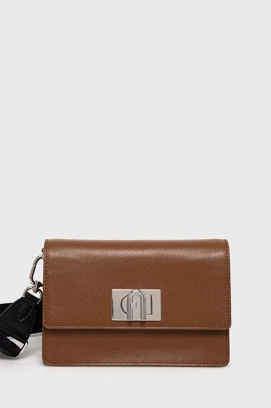 zlatohnědá Furla - Kožená kabelka 1927 Soft Dámský